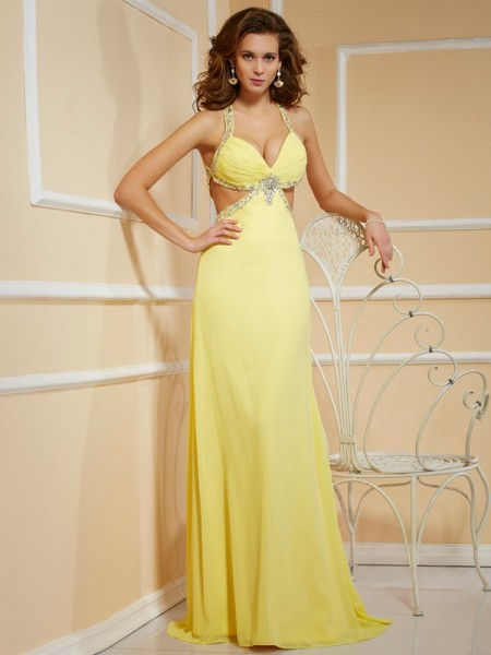 Sheath/Column Yellow Chiffon Floor-Length Dresses with Beading