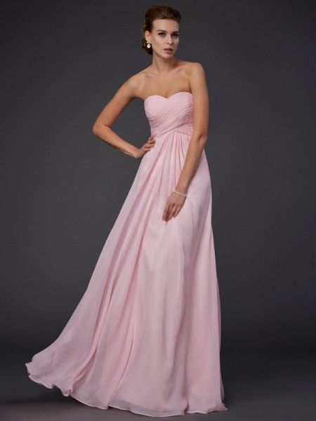 Sheath/Column Pink Chiffon Floor-Length Dresses with Ruffles