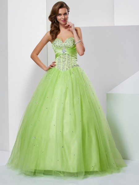 Ball Gown Green Tulle Floor-Length Dresses with Beading