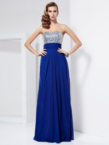 Sheath/Column Royal Blue Chiffon Floor-Length Dresses with Rhinestone