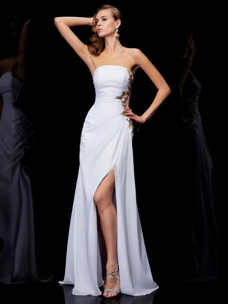 Sheath/Column White Chiffon Floor-Length Dresses with Ruffles