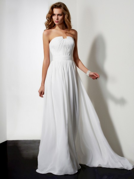 A-Line/Princess Ivory Chiffon Floor-Length Dresses with Ruffles