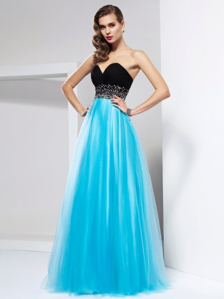 A-Line/Princess Blue Net Floor-Length Dresses with Sash/Ribbon/Belt