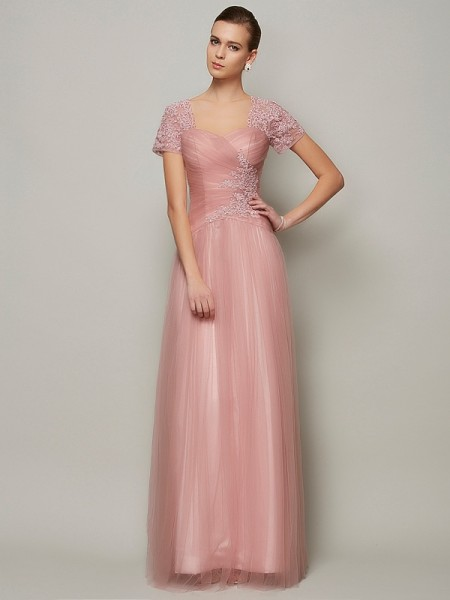 A-Line/Princess Brown Satin Floor-Length Evening Dresses with Beading