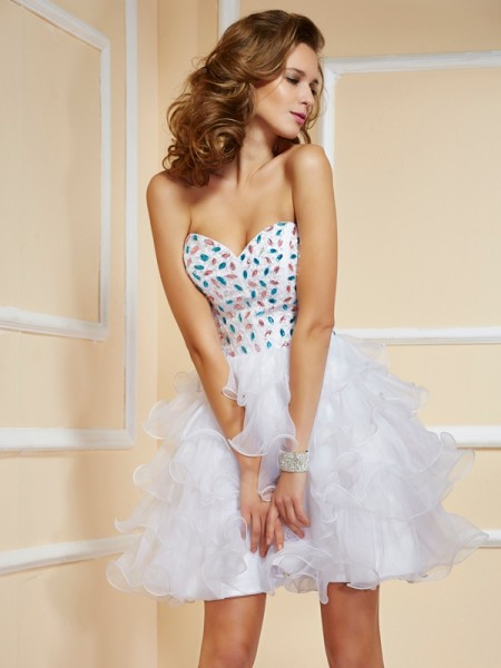 A-Line/Princess White Organza Short/Mini Homecoming Dresses with Rhinestone