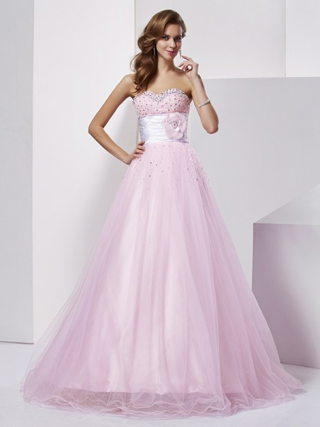 Ball Gown Pearl Pink Elastic Woven Satin Floor-Length Dresses with Beading