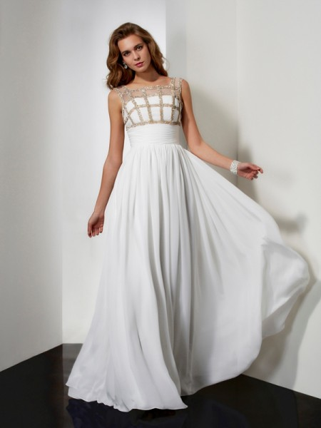 A-Line/Princess Ivory Chiffon Floor-Length Dresses with Beading