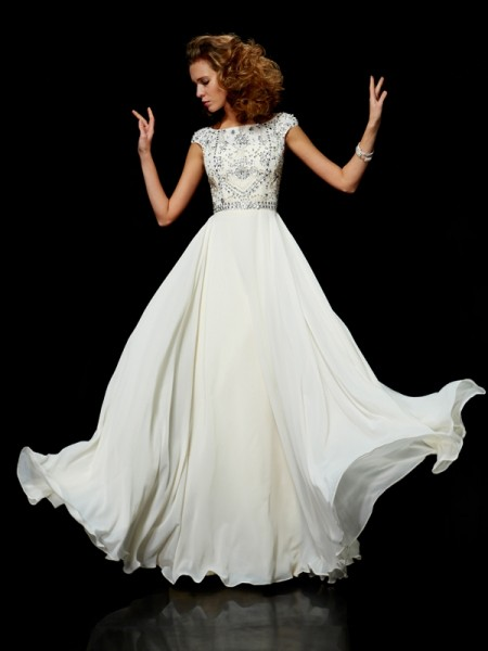 Ball Gown Ivory Chiffon Floor-Length Dresses with Beading