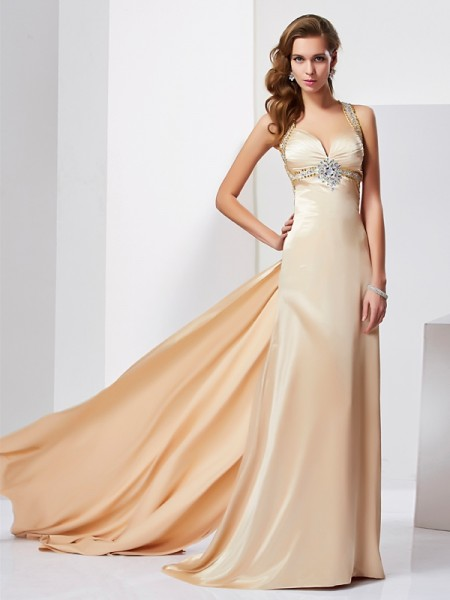 Sheath/Column Champagne Silk like Satin Sweep/Brush Train Dresses with Ruffles
