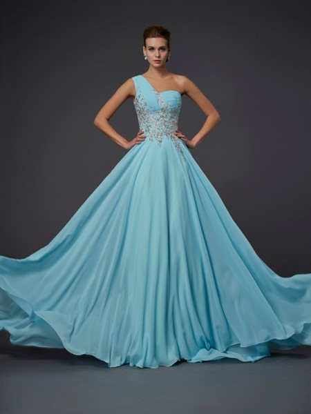 A-Line/Princess Sage Chiffon Floor-Length Dresses with Ruffles