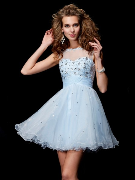 A-Line/Princess Light Sky Blue Elastic Woven Satin , Tulle , Net Short/Mini Homecoming Dresses with Beading
