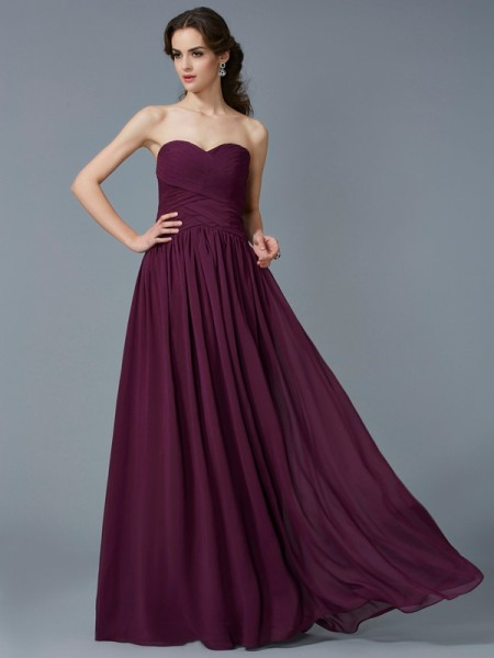A-Line/Princess Grape Chiffon Floor-Length Dresses with Pleats