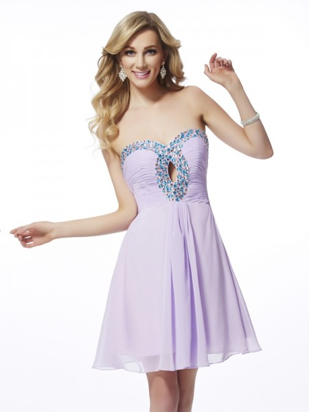 A-Line/Princess Lilac Chiffon Short/Mini Homecoming Dresses with Beading