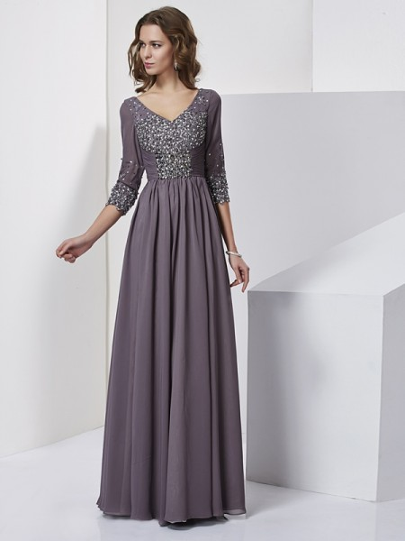Sheath/Column Grey Chiffon Floor-Length Evening Dresses with Beading