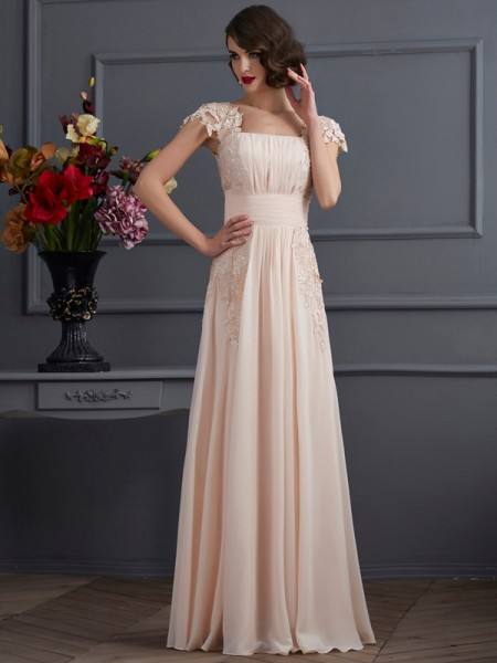 A-Line/Princess Champagne Chiffon Floor-Length Dresses with Lace