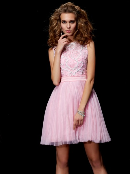 A-Line/Princess Pink Elastic Woven Satin , Net Short/Mini Homecoming Dresses with Beading