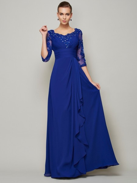 A-Line/Princess Royal Blue Chiffon Floor-Length Mother Of The Bride Dresses with Lace