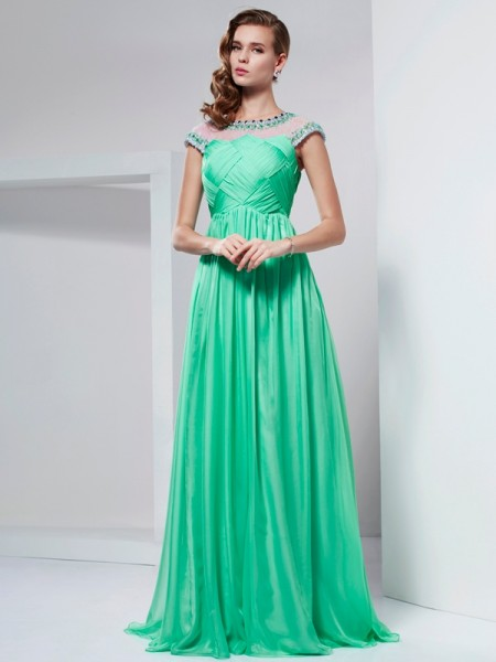 A-Line/Princess Green Chiffon Floor-Length Dresses with Beading