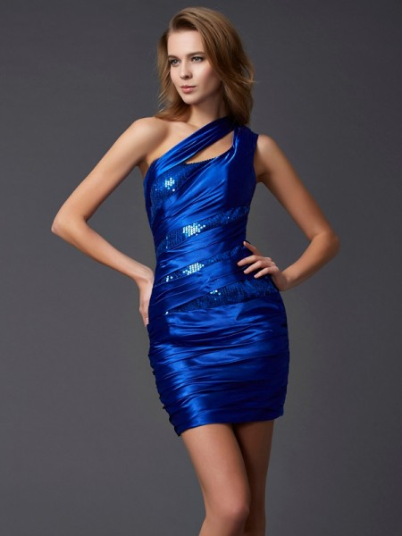 Sheath/Column Royal Blue Silk like Satin Short/Mini Homecoming Dresses with Paillette