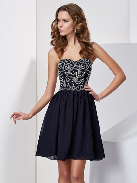 A-Line/Princess Dark Navy Chiffon Short/Mini Homecoming Dresses with Beading