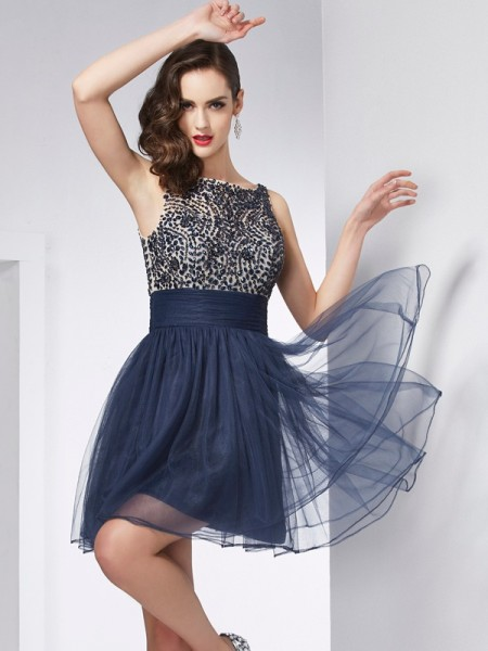 Sheath/Column Dark Navy Tulle Short/Mini Homecoming Dresses with Beading