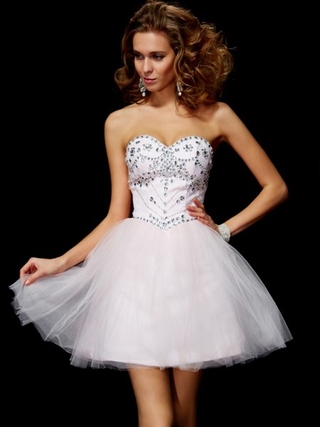 A-Line/Princess Pearl Pink Organza Short/Mini Homecoming Dresses with Beading