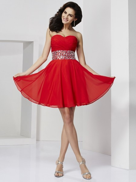 A-Line/Princess Red Chiffon Short/Mini Homecoming Dresses with Rhinestone