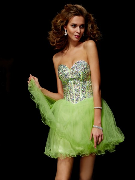 A-Line/Princess Other Elastic Woven Satin Short/Mini Homecoming Dresses with Beading