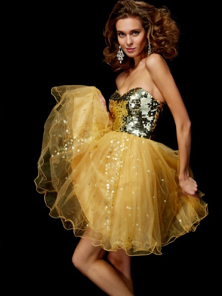 A-Line/Princess Gold Tulle Short/Mini Homecoming Dresses with Paillette