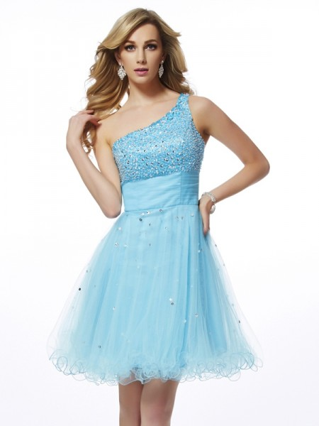 A-Line/Princess Blue Organza Short/Mini Homecoming Dresses with Beading