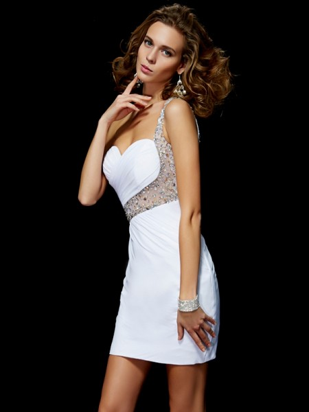 A-Line/Princess White Chiffon Short/Mini Homecoming Dresses with Sequin