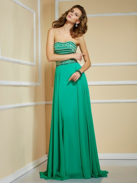 A-Line/Princess Green Chiffon Sweep/Brush Train Dresses with Rhinestone