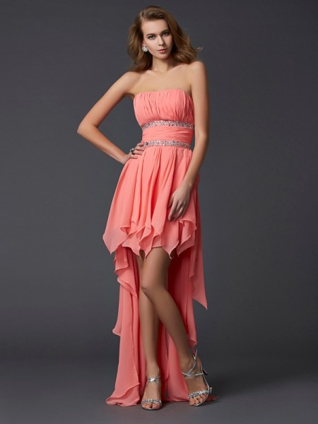 Empire Watermelon Chiffon Asymmetrical Homecoming Dresses with Ruffles