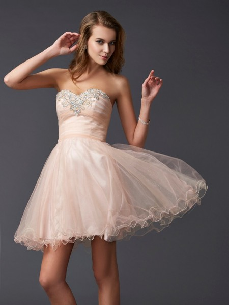 A-Line/Princess Pearl Pink Silk like Satin Short/Mini Homecoming Dresses with Other