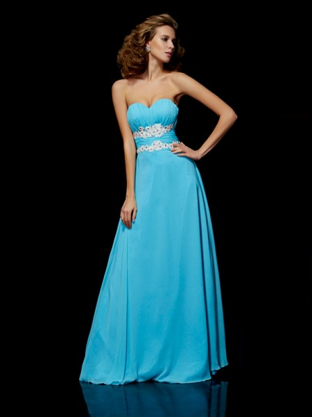 A-Line/Princess Blue Chiffon Floor-Length Dresses with Applique