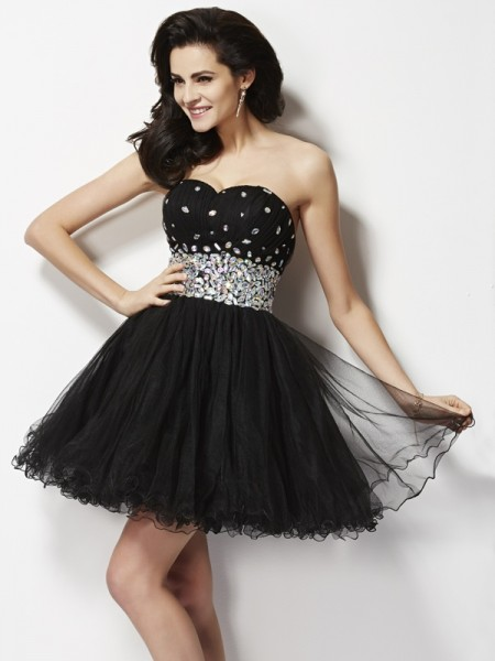 A-Line/Princess Black Elastic Woven Satin Short/Mini Homecoming Dresses with Beading