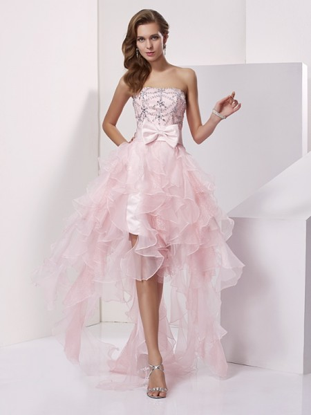 A-Line/Princess Pink Organza Asymmetrical Homecoming Dresses with Beading