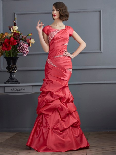 Trumpet/Mermaid Watermelon Taffeta Floor-Length Dresses with Beading