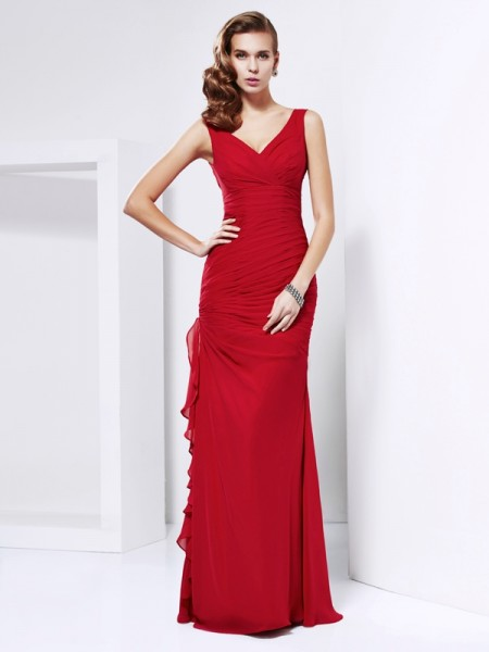 Sheath/Column Red Chiffon Floor-Length Dresses with Ruched