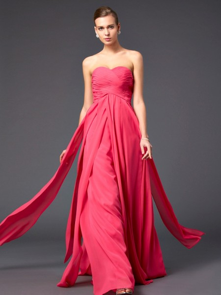 Sheath/Column Fuchsia Chiffon Sweep/Brush Train Dresses with Ruffles