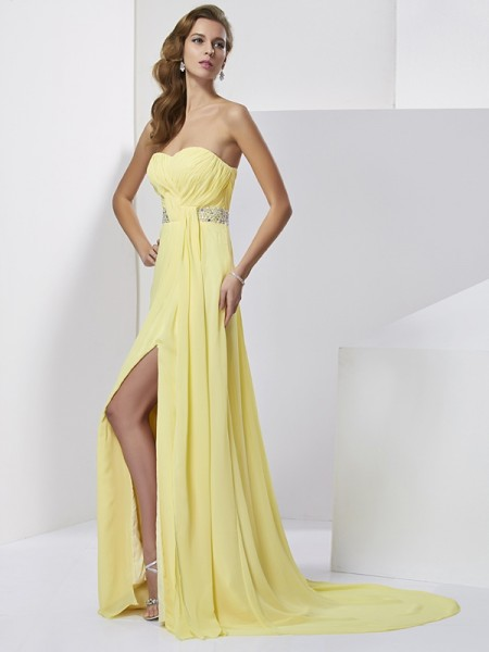 Sheath/Column Daffodil Chiffon Sweep/Brush Train Dresses with Beading