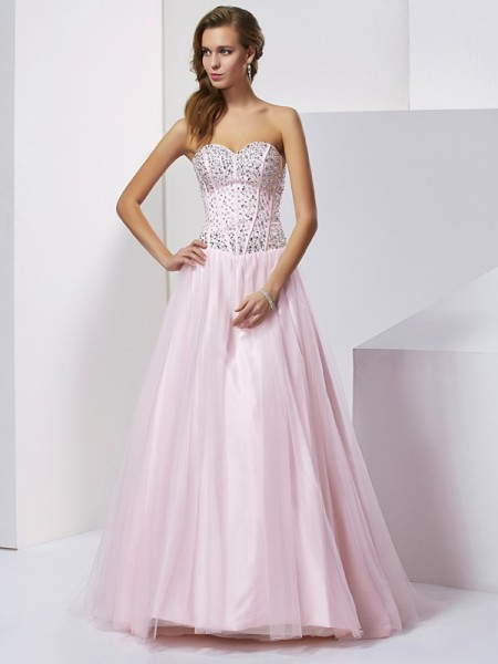 Ball Gown Pearl Pink Satin Floor-Length Dresses with Beading
