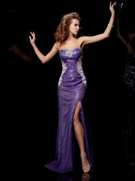 Sheath/Column Regency Elastic Woven Satin , Lace , Sequins Sweep/Brush Train Dresses with Beading