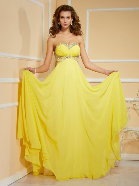 Sheath/Column Yellow Chiffon Floor-Length Dresses with Ruffles