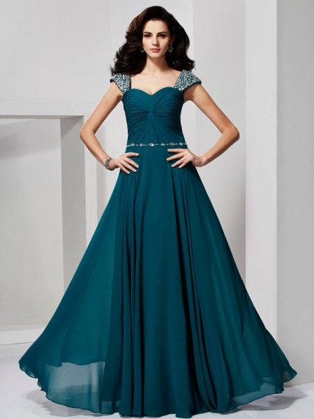 A-Line/Princess Hunter Green Chiffon Floor-Length Dresses with Beading
