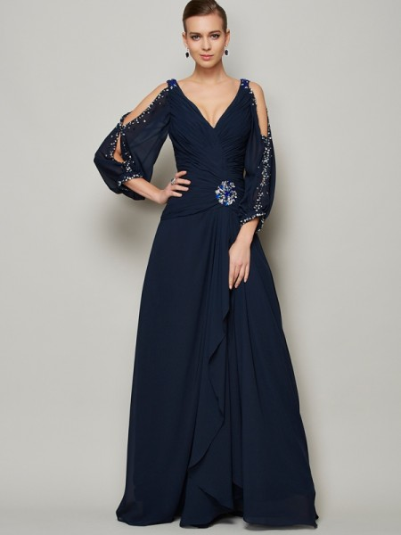 A-Line/Princess Dark Navy Chiffon Ankle-Length Dresses with Beading