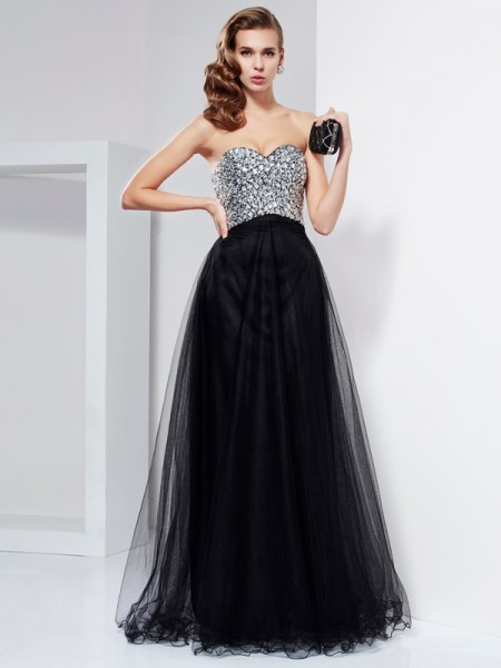 A-Line/Princess Black Elastic Woven Satin Floor-Length Dresses with Beading