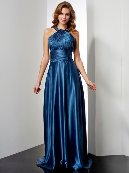 A-Line/Princess Royal Blue Elastic Woven Satin Floor-Length Dresses with Beading
