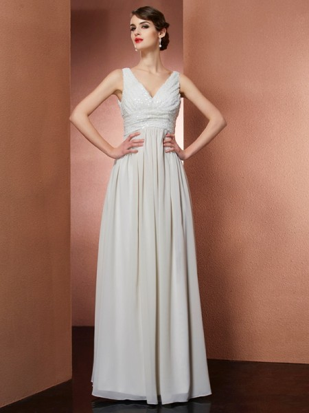 A-Line/Princess Champagne Chiffon Floor-Length Dresses with Other