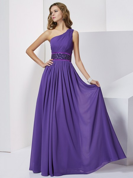 Empire Regency Chiffon Floor-Length Dresses with Beading